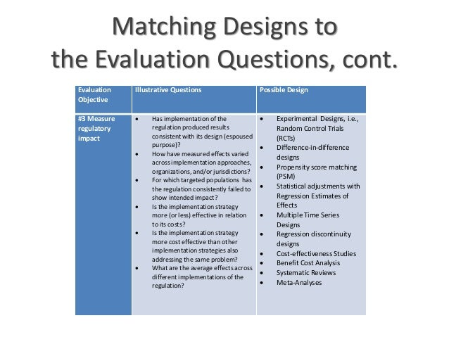 evaluation designs Principles and a step-by-step guide to help you plan an evaluation.