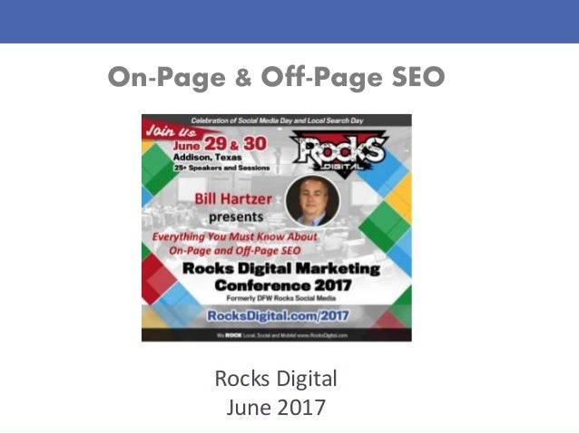 On-Page & Off-Page SEO Rocks Digital June 2017