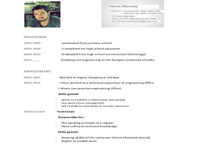 harun altunbay 125527 civil engineering cv