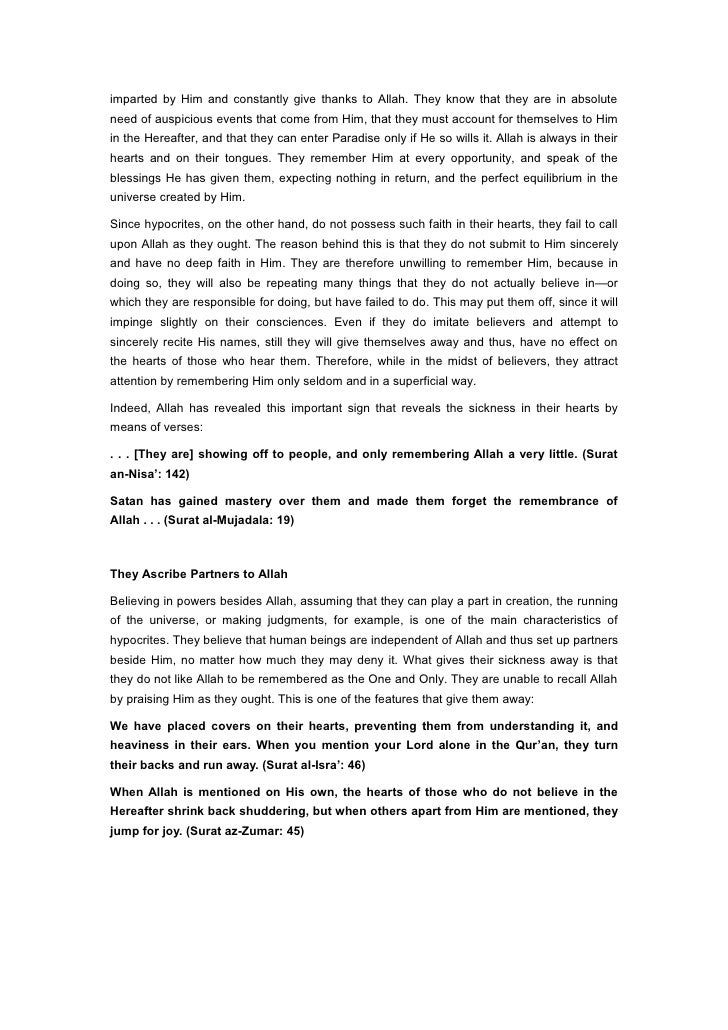 Harun Yahya Islam The Secrets Of The Hypocrite