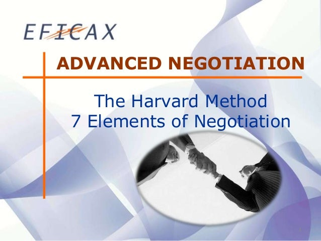 1 ADVANCED NEGOTIATION The Harvard Method 7 Elements of Negotiation