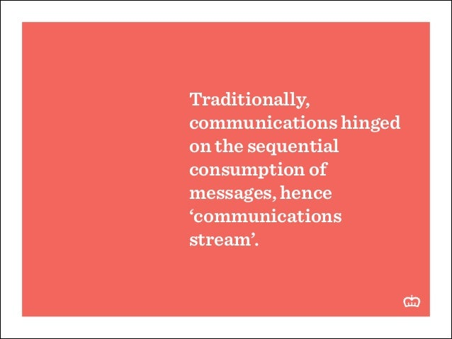Traditionally, communications hinged on the sequential consumption of messages, hence 'communications stream'.