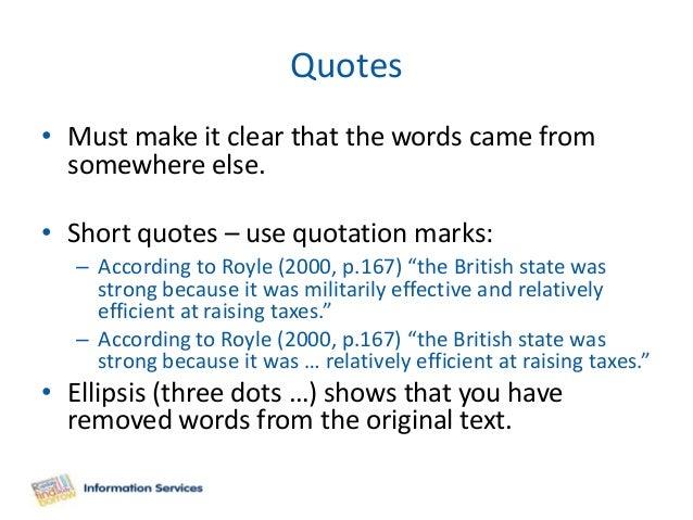 Essay writing quoting