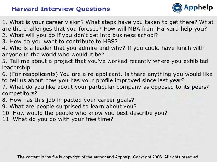Harvard Interview Questions The content in the file is copyright of the author and Apphelp. Copyright 2006. All rights res...