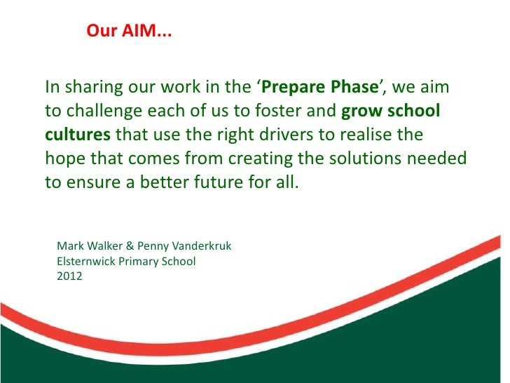 Our AIM...In sharing our work in the 'Prepare Phase', we aimto challenge each of us to foster and grow schoolcultures that...