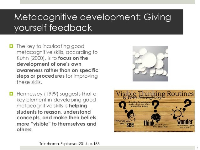 metacognition enhancing metacognitive skills Metacognition is an essential, but often neglected, component of a 21st century education that teaches students how to learn from preschool through high school, the instructional schedule is packed with content lessons with little time for guiding students in developing the metacognitive and.