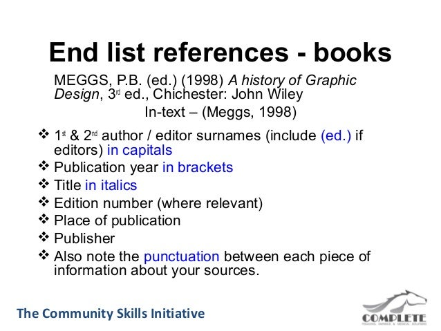Harvard referencing cited in your workthe community skills initiative 7 end list references books ccuart Gallery