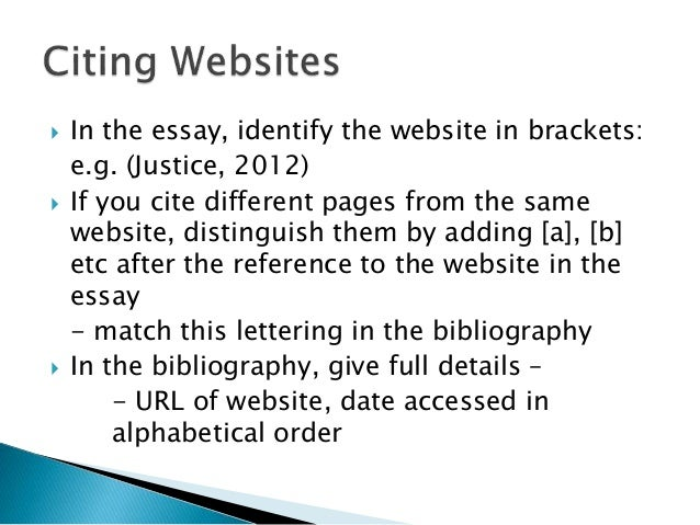 How to reference a website in an essay