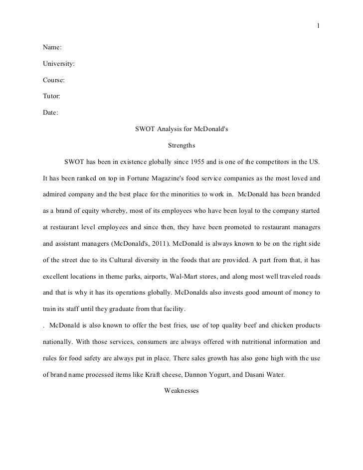 Harvard style essay swot analysis for mc donalds – Example of a Swot Analysis Paper