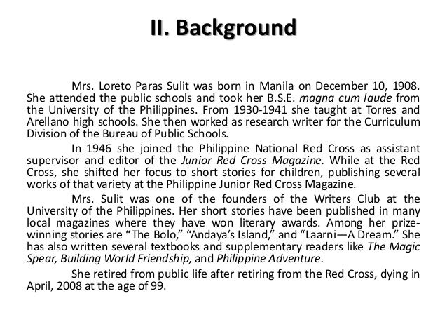 analysis of short story entitle harvest by loreto paras sulit Who is flori roberts save cancel already exists would you like to she wrote a short story about a girl and entitled loreto paras sulit story analysis of in.