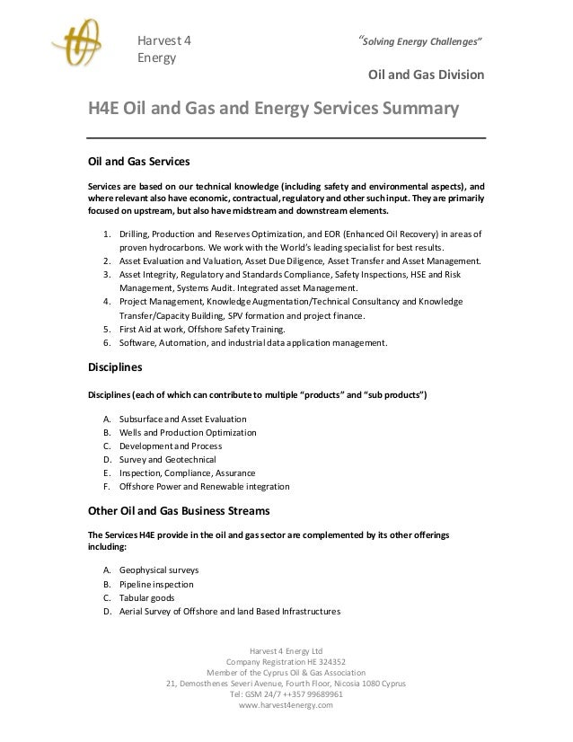 "Harvest 4 ""Solving Energy Challenges"" Energy Oil and Gas Division Harvest 4 Energy Ltd Company Registration HE 324352 Memb..."