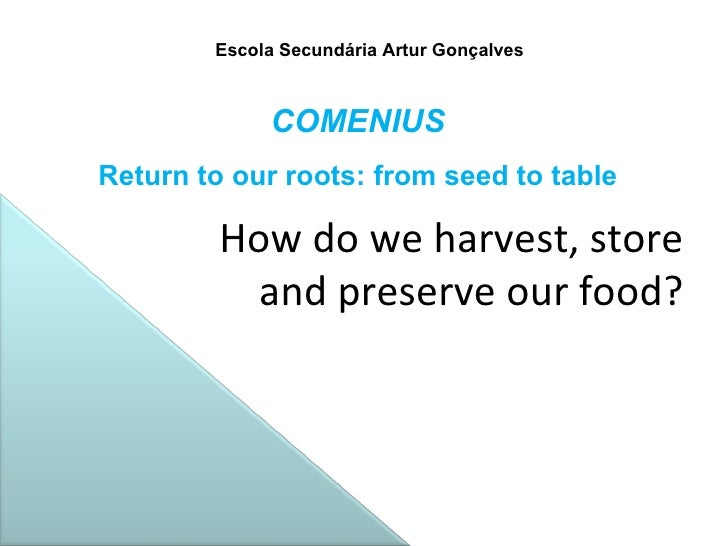 Escola Secundária Artur Gonçalves How do we harvest, store  and preserve our food? COMENIUS Return to our roots: from seed...