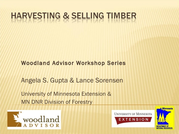 Woodland Advisor Workshop Series Angela S. Gupta & Lance Sorensen University of Minnesota Extension & MN DNR Division of F...