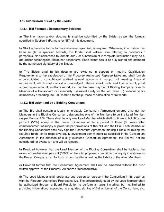 Haryana Solar Bid Document RFS – Bid Format