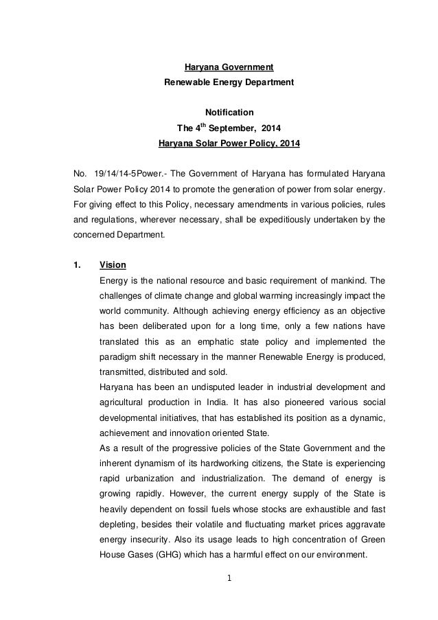 1 Haryana Government Renewable Energy Department Notification The 4th September, 2014 Haryana Solar Power Policy, 2014 No....