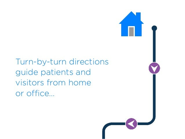 Turn-by-turn directions guide patients and visitors from home  or office…