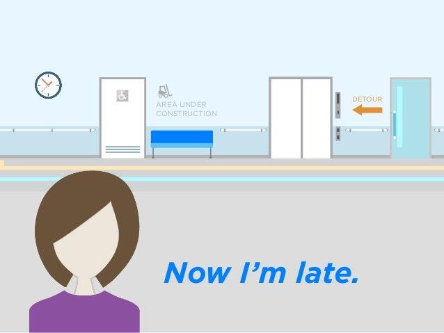 Now I'm late. AREA UNDER CONSTRUCTION DETOUR