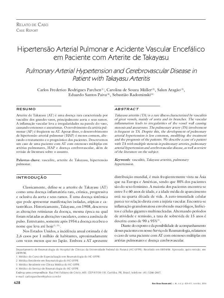 rElato dE caso casE rEPort Hipertensão Arterial Pulmonar e Acidente Vascular Encefálico            em Paciente com Arterit...