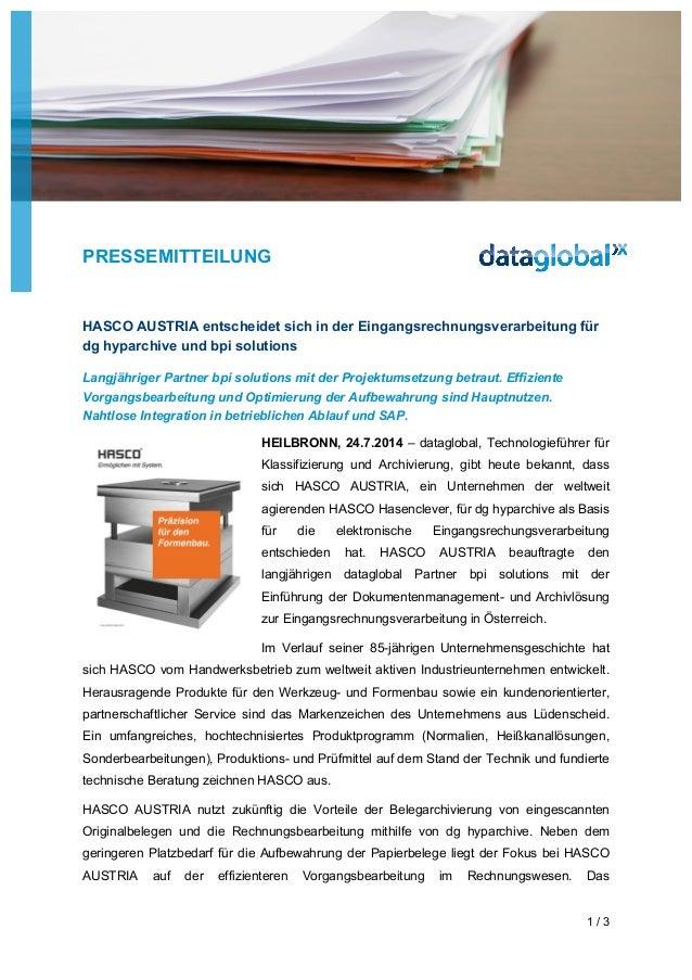 PRESSEMITTEILUNG 1 / 3 HASCO AUSTRIA entscheidet sich in der Eingangsrechnungsverarbeitung für dg hyparchive und bpi solut...