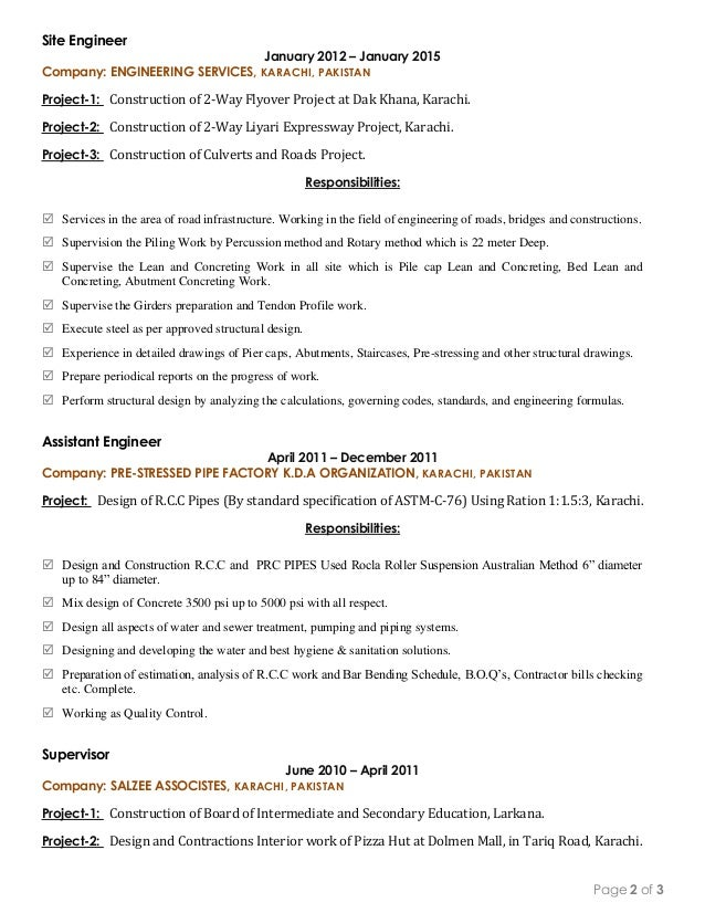 civil consultant resume