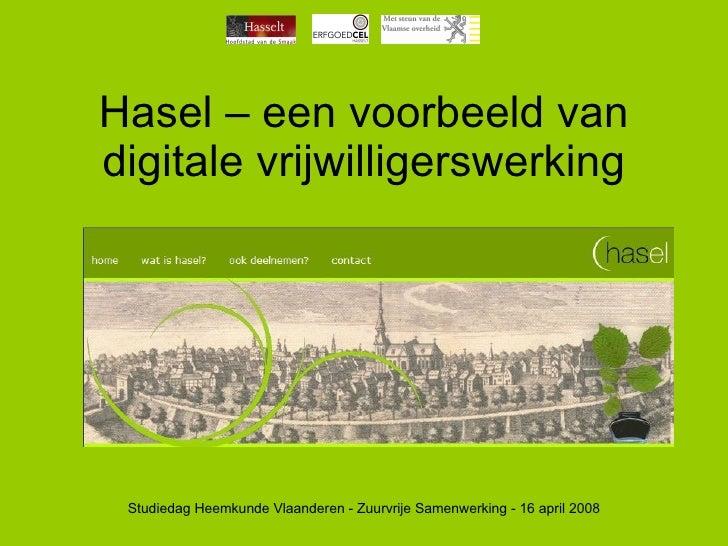 Hasel – een voorbeeld van digitale vrijwilligerswerking