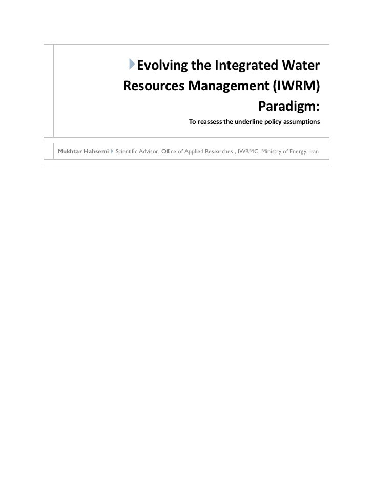 Evolving the Integrated Water                        Resources Management (IWRM)                                         ...