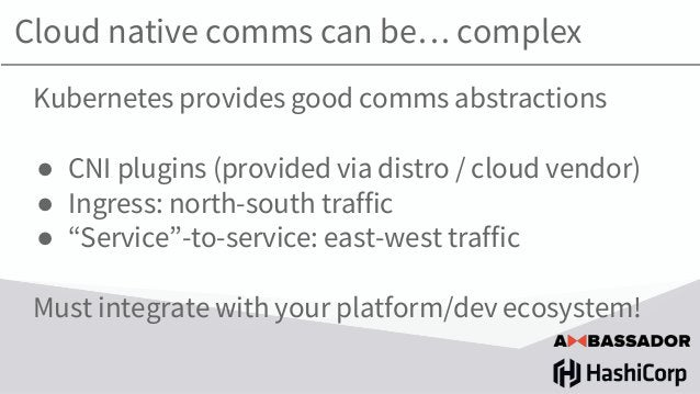 Cloud native comms can be… complex Kubernetes provides good comms abstractions ● CNI plugins (provided via distro / cloud ...