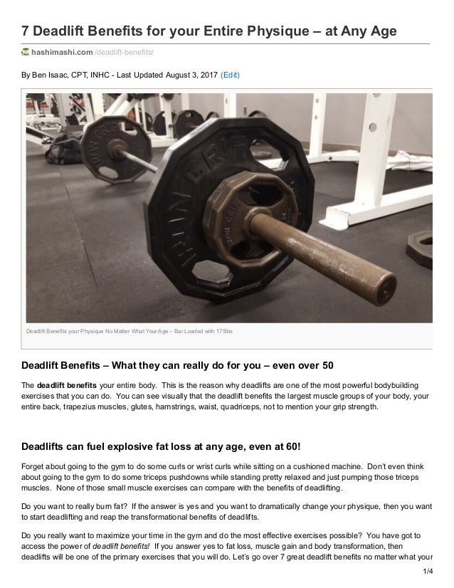 eb8c9812d2fe 7 Deadlift Benefits for your Entire Physique – at Any Age hashimashi.com   deadlift ...