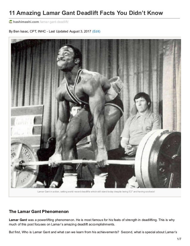 11 Amazing Lamar Gant Deadlift Facts You Didn't Know