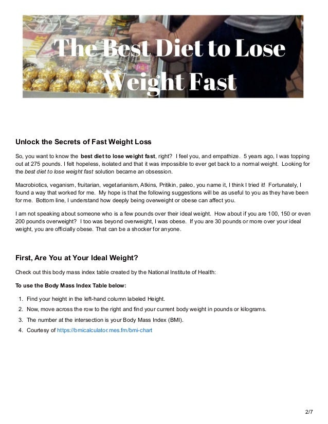 best diet how to lose weight fast