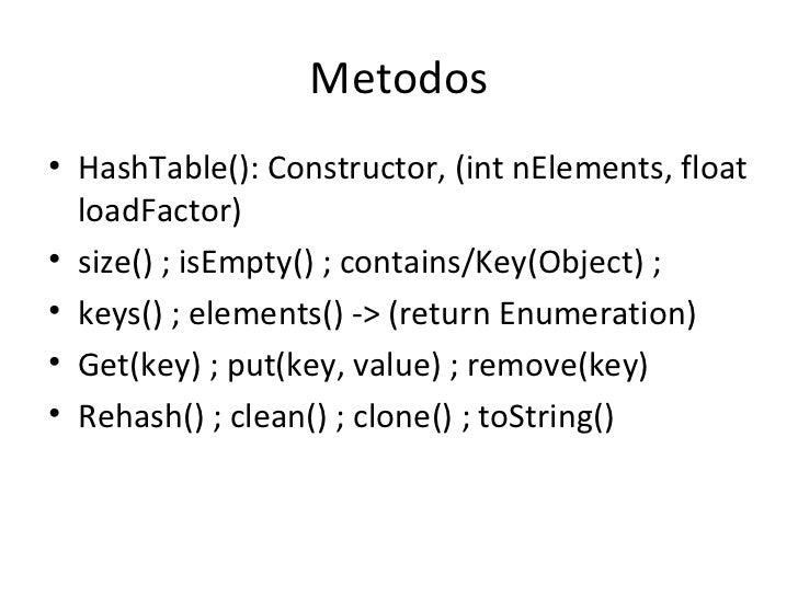 Metodos <ul><li>HashTable(): Constructor, (int nElements, float loadFactor) </li></ul><ul><li>size() ; isEmpty() ; contain...