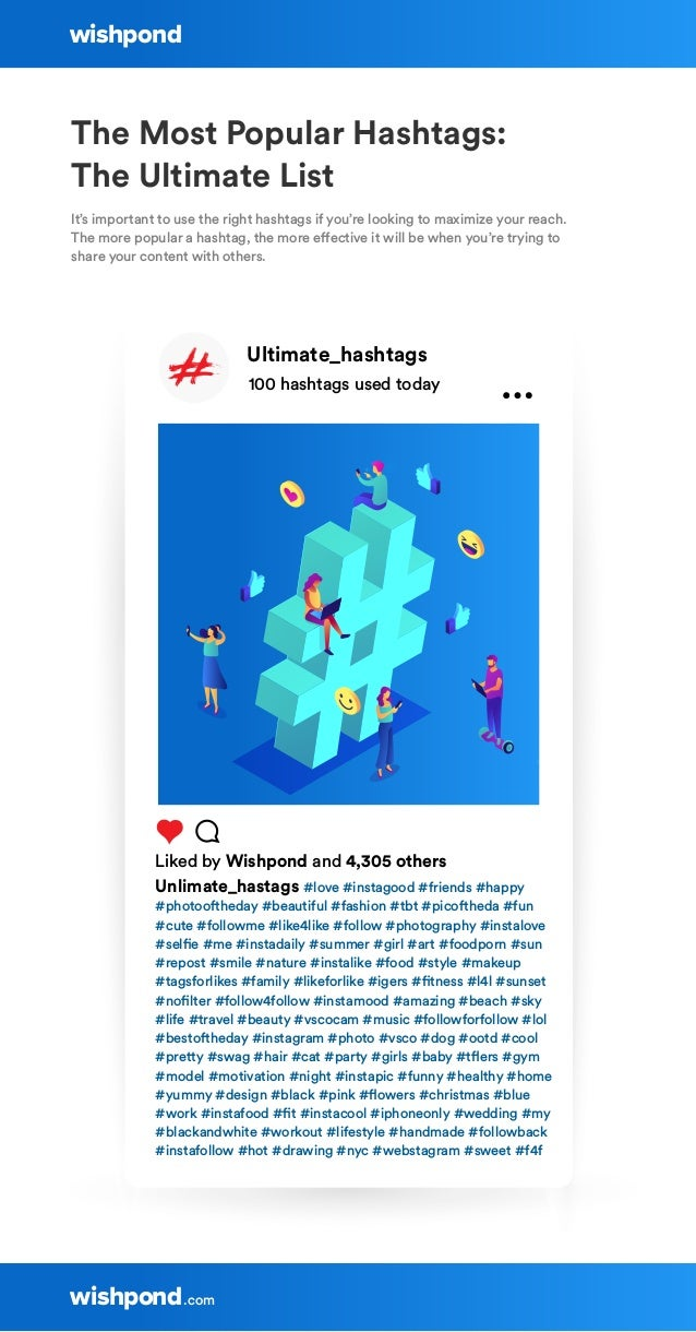 Ultimate_hashtags 100 hashtags used today Liked by Wishpond and 4,305 others Unlimate_hastags #love #instagood #friends #h...