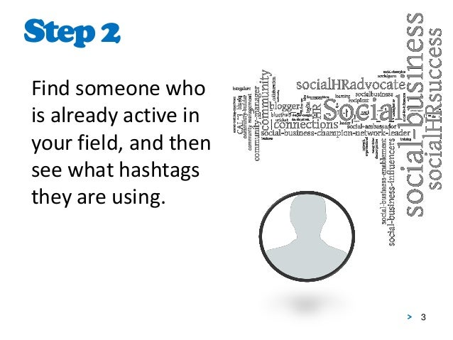3 Find someone who is already active in your field, and then see what hashtags they are using. Step2