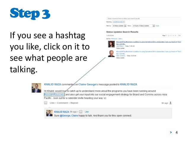 4 If you see a hashtag you like, click on it to see what people are talking. Step3