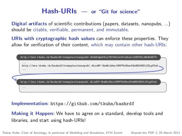 """Hash-URIs — or """"Git for science"""" Digital artifacts of scientific contributions (papers, datasets, nanopubs, ...) should be ..."""