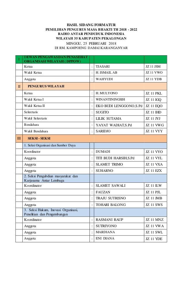 HASIL SIDANG FORMATUR PEMILIHAN PENGURUS MASA BHAKTI TH 2018 - 2022 RADIO ANTAR PENDUDUK INDONESIA WILAYAH 35 KABUPATEN PE...