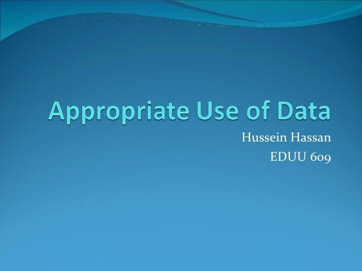 Hussein Hassan EDUU 609