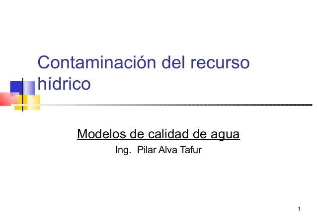 1 Contaminación del recurso hídrico Modelos de calidad de agua Ing. Pilar Alva Tafur