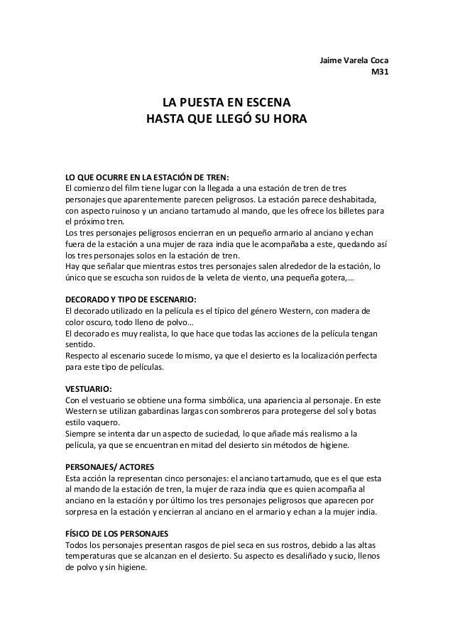Jaime  Varela  Coca   M31      LA  PUESTA  EN  ESCENA   HASTA  QUE  LLEGÓ  SU  HORA        ...