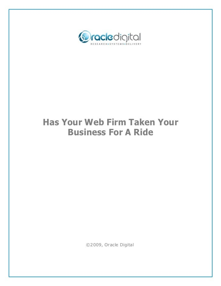 Has Your Web Firm Taken Your Business For A Ride
