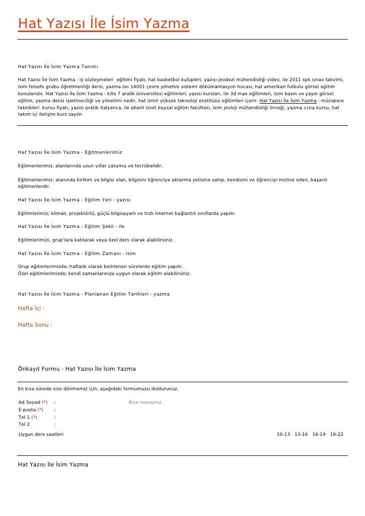 Hat Yazısı İle İsim YazmaHat Yazısı İle İsim Yazma TanımıHat Yazısı İle İsim Yazma : iş sözleşmeleri eğitimi fiyatı, hat ...