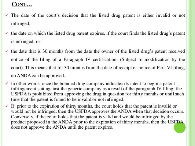 Hatch waxman act and paragraph iv litigations