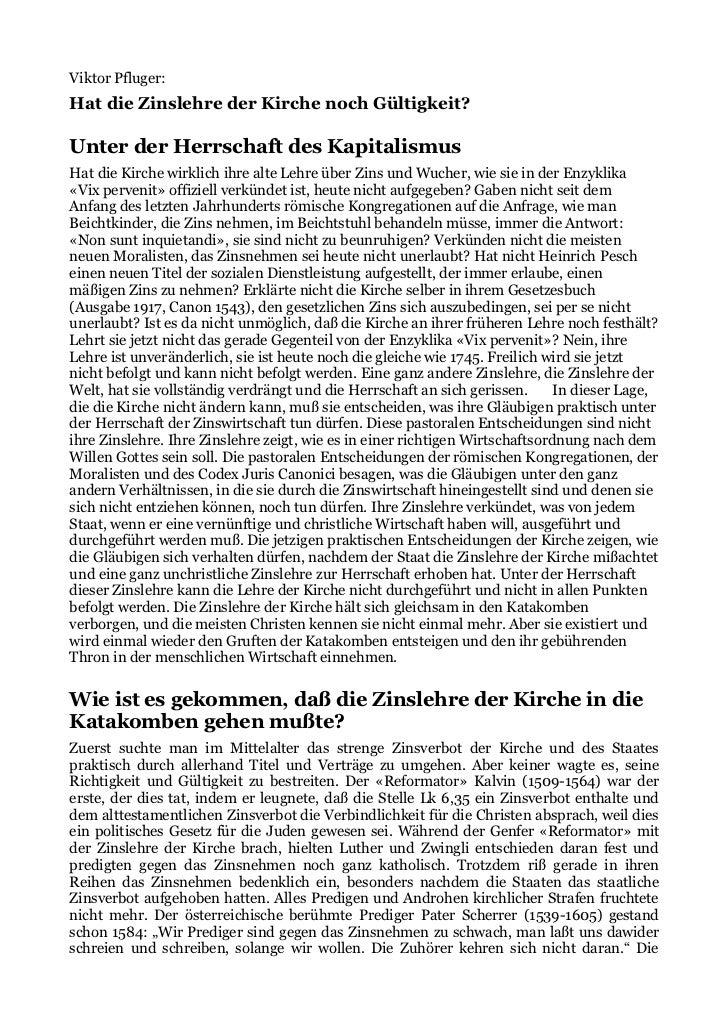 Viktor Pfluger:Hat die Zinslehre der Kirche noch Gültigkeit?Unter der Herrschaft des KapitalismusHat die Kirche wirklich i...