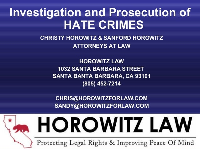 CHRISTY HOROWITZ & SANFORD HOROWITZ ATTORNEYS AT LAW HOROWITZ LAW 1032 SANTA BARBARA STREET SANTA BANTA BARBARA, CA 93101 ...