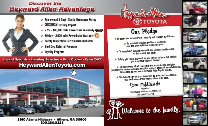 heyward allen toyota athens ga heyward allen advantage brochure. Black Bedroom Furniture Sets. Home Design Ideas
