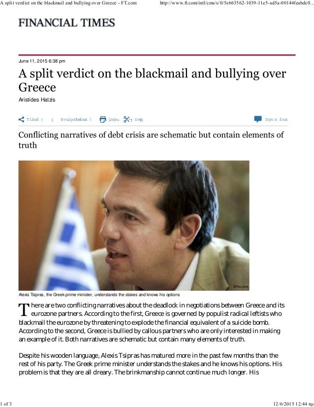 Share   Authoralerts Print Clip Com m ents June 11, 2015 6:38 pm Aristides Hatzis Alexis Tsipras, the Greek prime minist...