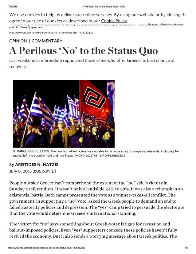 7/9/2015 A Perilous 'No' to the Status Quo - WSJ  We use cookies to help us deliver our online services.  By using our web...
