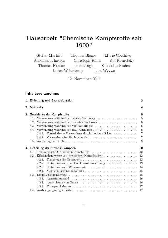 """Hausarbeit """"Chemische Kampfstoffe seit 1900"""" Stefan Martini Thomas Blome Marie Goedicke Alexander Hintzen Christoph Keins K..."""