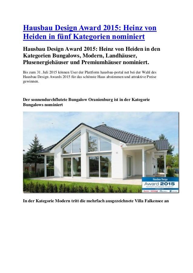 Hausbau Design Award 2015: Heinz von Heiden in fünf Kategorien nominiert Hausbau Design Award 2015: Heinz von Heiden in de...
