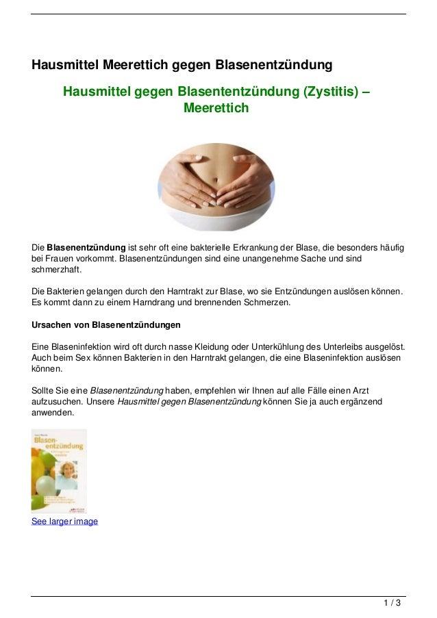 Hausmittel Meerettich gegen Blasenentzündung        Hausmittel gegen Blasententzündung (Zystitis) –                       ...